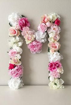 Floral Letter Wedding Letter Sweetheart Table by BegoniaRoseCo