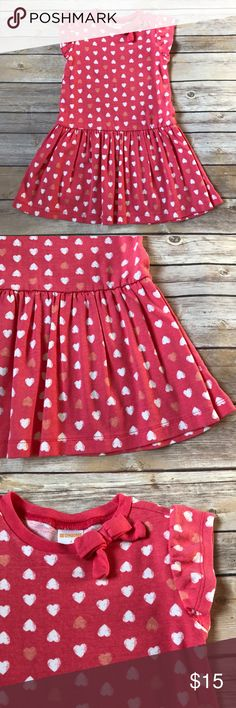 Gymboree Size 4, Gymboree dress. Pink with white and pink hearts. Bow at neckline. 100% cotton. Very good condition. No stains. Gymboree Dresses