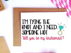 Funny Bridesmaid Card Proposal Will You Be My by LailaMeDesigns