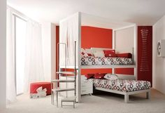 Different View Of Shared Kids Room Design In White And Red Kids Bedroom Designs, Kids Room Design, Twin Beds For Boys, Twin Canopy Bed, Bunk Beds, Loft Beds, Space Saving Bedroom, Shared Bedrooms, Modular Furniture
