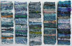 """Little weavings. Re-pinned by Elizabeth VanBuskirk. These could be done on a simple little cardboard loom with only about 16 warp (vertical) threads. The weavings are made """"weft face"""" ie the warp (vertical) threads are set far apart and do not show. The weft (horizontal) is packed down and all the choices are made by using different kinds of weft  yarns as you weave."""