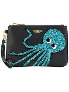 Discounts Essentiel Antwerp Black/Blue Octopus Embroidered Clutch For Women