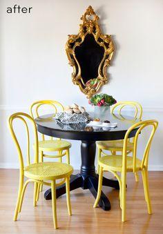 Não é preciso muito: um simples toque pode transformar uma cadeira. A cadeira Thonet é um clássico do século XIX, de origem austríaca, que tornou-se atemporal devido ao seu design simples, suave, funcional e ergonômico. Um simples banho de tinta amarela (inclusive na palha do assento),  foi capaz de deixá-la com este visual retro-contemporâneo incrível!  *Foto publicada pelo blog Dona Charmosa.