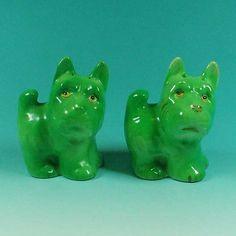 Vintage Novelty Figural Salt Pepper Shakers Vibrant Green Terrier Dogs   eBay