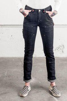2416dc7eda41 Dovetail Workwear-Maven Slim in Black Stretch Denim Work Pants