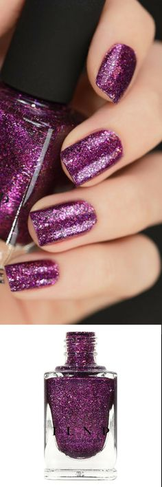 XO is a rich and saturated palatinate purple Ultra Metallics™️ nail  polish. Stuffed with holographic sparkle and high quality ultra-thin  metallic flakes for superior shine, XO is a wonderfully unique purple  that you'll reach for year round! purple nails purple nail polish #glitternails #winternails #newyearnails #ad #nailart #naildesigns