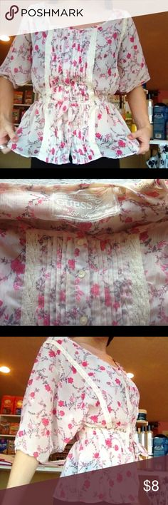 GUESS Small Blouse Brand: Guess. Size: Small. Condition: Great. Only worn a few times. No noticeable wear. The top is sheer. Too large for me to wear my shoulders don't hold it up. Would be great for any busty gals. Make me an offer Guess Tops Blouses