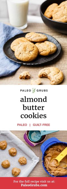 Easy Almond Butter Cookies (High in Protein) There's nothing better than homemade cookie recipes that are quick and easy to make. That perfectly describes this recipe for quick and easy almond butter cookies. Paleo Dessert, Paleo Sweets, Dessert Recipes, Paleo Cookie Recipe, Healthy Cookie Recipes, Healthy Cookies, Quick Recipes, Quick Paleo Meals, Healthy Biscuits