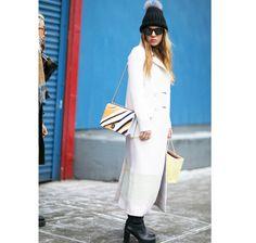 Moda uliczna na NYFW jesień-zima 2016/2017 Street style New York Fashion Week outfit white long coat