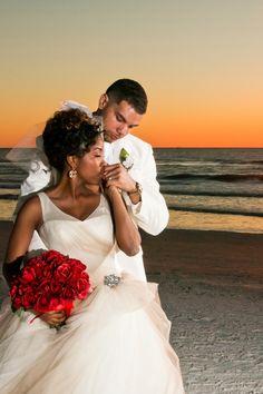 Hakemia and Bradford Jackson A Glamorous Red and White Beach Wedding in Florida - Munaluchi Bridal Magazine Wedding Poses, Wedding Couples, Wedding Ideas, Wedding Decorations, Wedding Inspiration, Afro, Black Marriage, Beach Wedding Packages, Beach Weddings
