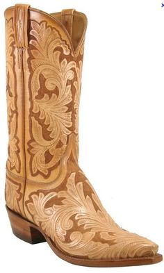 Lucchese Floral Hand Tooled Boots