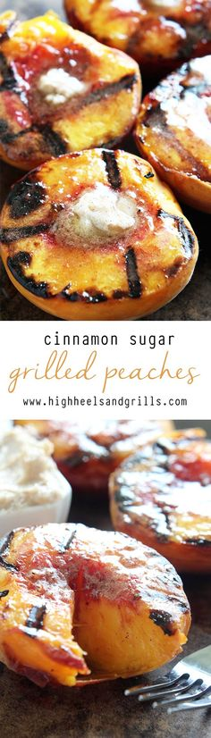 Cinnamon Sugar Grilled Peaches are a yummy dessert that can be made quick! Cinnamon Sugar Grilled Peaches are a yummy dessert that can be made quick! They are topped with a cinnamon sugar butter and taste like little peach cobblers! Grilled Fruit, Grilled Peaches, Grilled Desserts, Bbq Desserts, Camping Desserts, Fruit Recipes, Dessert Recipes, Cooking Recipes, Recipes Dinner