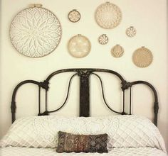 Love the doilies in the hoops as wall art! - instant collection of vintage crochet doilies in embroidery hoops. I like the old metal bed. Home Bedroom, Bedroom Decor, Bedroom Wall, Design Bedroom, Bedroom Ideas, Crochet Dollies, Diy Casa, Embroidery Hoop Art, Embroidery Designs