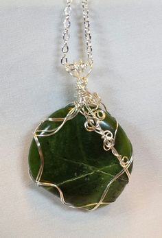 Handcrafted Wire Wrapped Round Nephrite by BeadedDelightsByStef