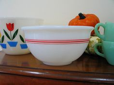 Vintage Hazel Atlas mixing bowl with a little bit of Fire King.
