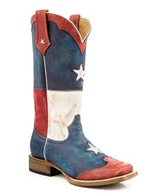 Red Square Toe Texas Star Flag Leather Cowboy Boot by Roper #zulily #zulilyfinds