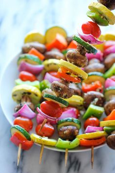 BACHELORETTE & BACHELOR PARTY Vegetable Kabobs - These marinated fresh veggie kabobs are packed with tons of flavor - perfect as a healthy side dish to any meal! Vegetable Kebabs, Veggie Kabobs, Shish Kabobs, Vegetable Recipes, Vegetarian Recipes, Healthy Recipes, Healthy Food, Chicken Kabobs, Veggie Meals