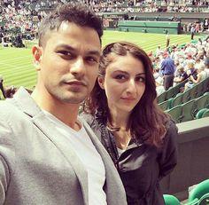 Lovely couple Kunal Khemu and Soha Ali Khan at center court, Wimbledon. @Bollywood ❤❤❤