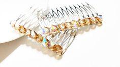 Swarovski Colorado Topaz AB Crystal Hair Comb  Bridal by Ausentes