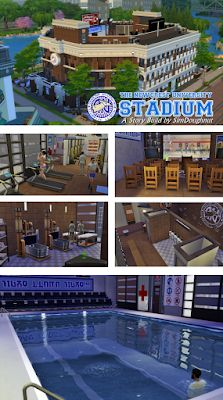Newcrest University Stadium, Clothing and Objects by SimDoughnut Sims 3 University, University Housing, University Life, The Sims 4 Lots, Sims 4 House Building, Sims 4 Blog, Sims 4 Bedroom, Sims House Design, Sims Games