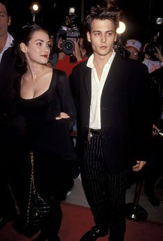 Winona Ryder and Johnny Depp at the Mermaids premiere in 1990