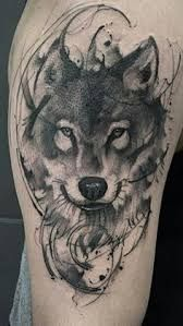 Image result for watercolor tribal wolf tattoo