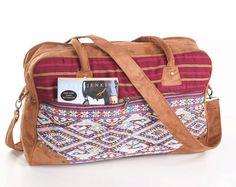 Ethnic Weekender Bag Carry on Bag Vintage Oriental Textile Vacation Bag, College Bag