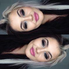 Smokey eyes and pink lips