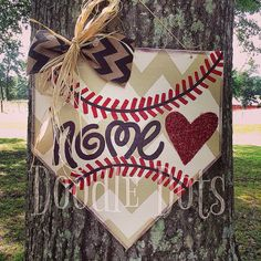 Baseball Home Plate Door Hanger by DoOdLeDotsAnDmOre on Etsy