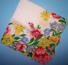 Vintage Ladies Hankie Handkerchief Bright Multi Color Tulips Crocus Daffodill