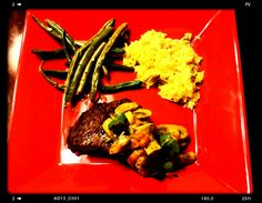 Filet Mignon covered with a creative seafood sauce, Fresh Green Beans and a side of rice.  #monzellecreations