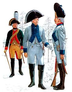 """Saxony"" • Artillery senior NCO, parade dress, 1806 • Musketeer officer, Inf. Regt. 'von Bünau', everyday dress, 1806 • Grenadier, Inf. Regt. 'von Bünau', parade dress, 1806"