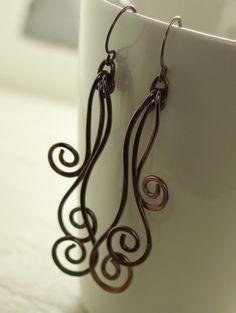 Swirl waves solid copper earrings - long dangles.