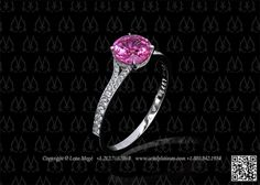 pink sapphire ring with split shank by Leon Megé