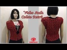 Colete Retro em Croche - YouTube Crochet Cardigan, Crochet Top, Knitting Videos, Retro, Dress Skirt, Blouse, Skirts, Youtube, Sweaters