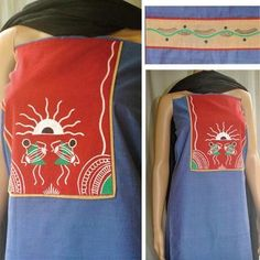 Beautiful blue pure hand loom Mangalgiri fabric with a touch of red. Handpainted warlis enhance the look of the kurti. The sleeve pattern is shown on the right. Hand Painted Dress, Hand Painted Fabric, Painted Clothes, Fabric Paint Designs, Fabric Design, Kurta Designs, Blouse Designs, Fabric Painting, Fabric Art