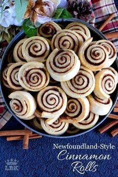 Made without yeast, Newfoundland Style Cinnamon Rolls are less like bread and more like a biscuit. No icing needed here; perfection doesn't need to be dressed up! Biscuit Cinnamon Rolls, Best Cinnamon Rolls, Baking Recipes, Dessert Recipes, Bread Recipes, Yummy Recipes, Cake Recipes, Chicken Recipes, Recipies