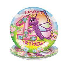 Butterfly 1st Birthday Dessert Plates - OrientalTrading.com