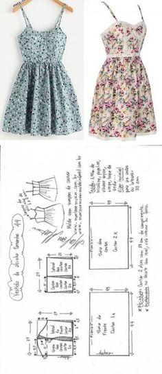 Vestido de alcinha com saia franzida   DIY - molde, corte e costura - Marlene Mukai