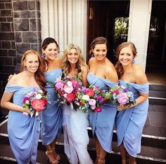 Amanda looking beautiful with her bridesmaids wearing last season's Selena Drape Dress! Our made to order Bridesmaid Edit offers 8 styles in 7 colours! Available in selected stores & online!