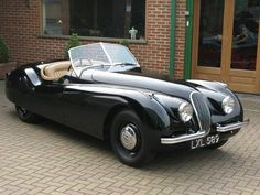Jaguar XK 120 Roadster, Black/Beige hide and carpets, Black hood, matching numbers, one of the earliest surviving steel bodied c. Jaguar Xk120, Black Hood, Classy Cars, Collector Cars, Old Cars, Vintage Cars, Dream Cars, Cool Photos, Automobile
