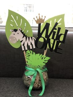 Zoo Theme Birthday Party CenterpiecesSet of 3 Two leaves and image 4 Baby Boy Birthday Themes, Safari Theme Birthday, Jungle Theme Parties, Wild One Birthday Party, Safari Birthday Party, Animal Birthday, Baby First Birthday, Homemade Baby Shower Decorations, Party Deco