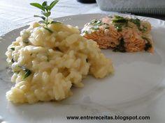 Entre Receitas: Risoto de 2 queijos com salmão assado