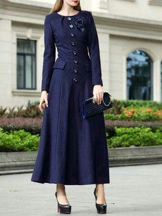 dcc7df5c5a8 Pas cher Marque Femmes Manches Longues Automne Hiver laine robe ...