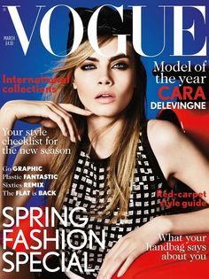 Cara Delevingne's first Vogue UK cover - March 2013. Photos by Mario Testino.