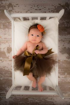 Chocolate brown newborn tutu--sewn and topped with satin ribbon and bow