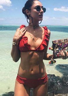 3b27bf7d5d Ruffled Plunge-Neck Bikini with Ruched Hip Detail Frill Bikini