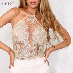 Women Lace Crop Tops Elegant Backless Spaghetti Strap Short Halter