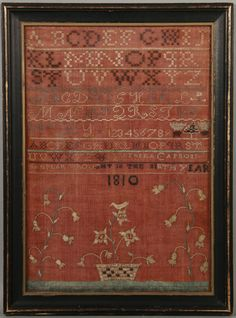 "Rare silk sampler on red linen. Inscribed with eight bands of alphabets and ""Luthera Capron/ sampler wrought in the ninth year/ 1810""."