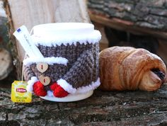 Gray mug cozy, crochet mug cover, mug cosy with pocket, pocket on the cup, Santa… - crochet mug cozy Mug Cozy Pattern, Crochet Mug Cozy, Teapot Cover, Pumpkin Tea, Tea Warmer, Grey Mugs, Crochet Chicken, Coffee Cup Cozy, Cosy Christmas